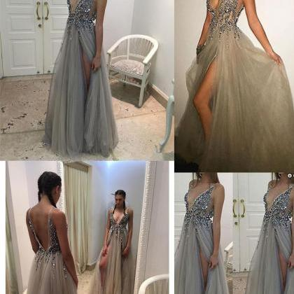 Beading Prom Dress,Deep V-Neck Prom..