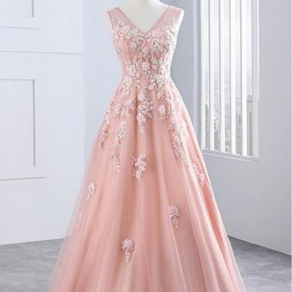 Pink Applique Long Prom Dresses V-N..