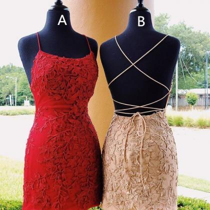 Straps tight short red lace homeco..
