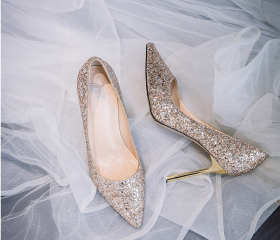 Sequin wedding shoes..