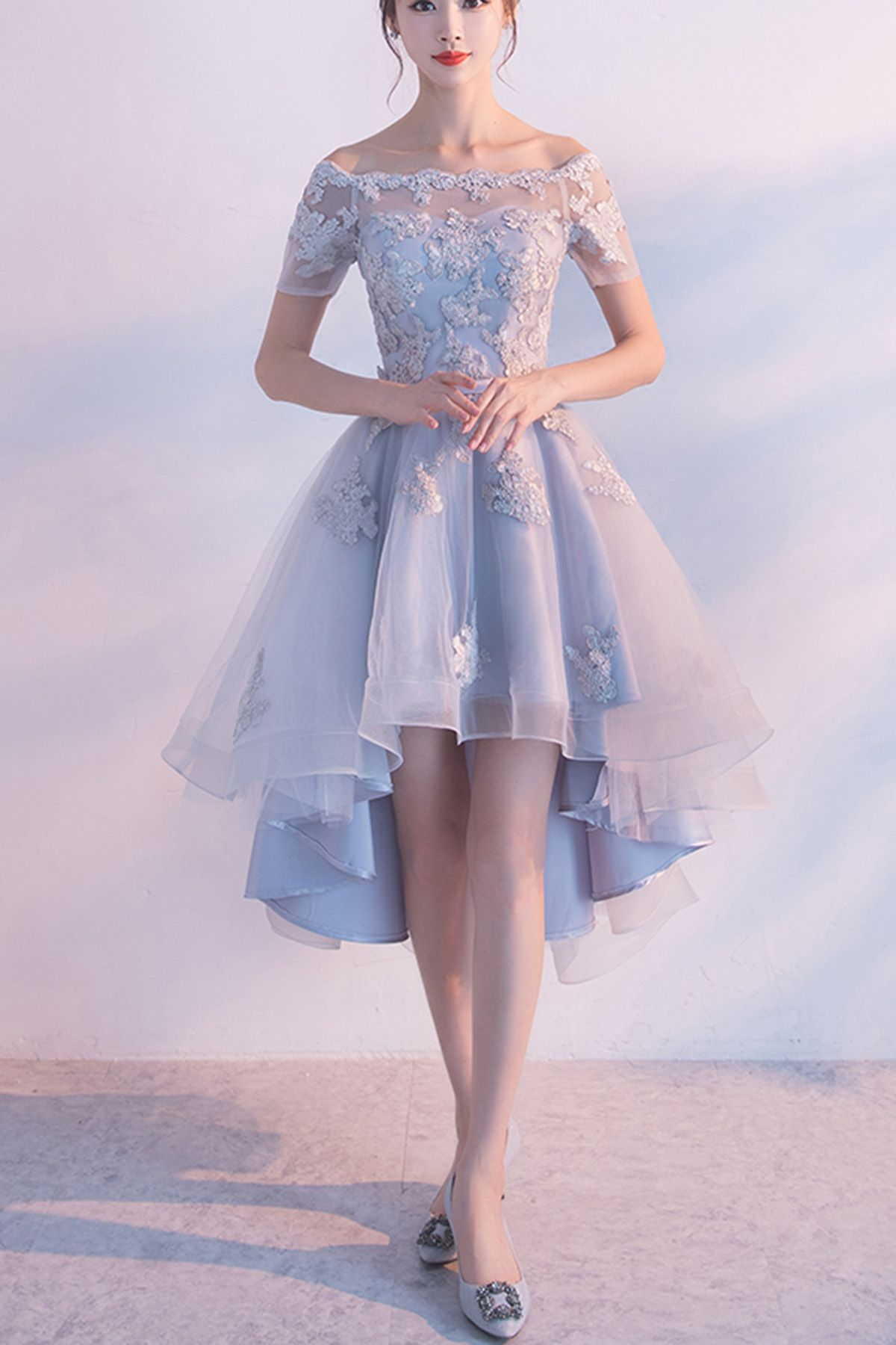 9718ed1ed2d Hot Sale Short Sleeve Dresses Short Light Blue Prom Homecoming Dresses With  Bandage Lace Up High-Low Fine Homecoming Dresses
