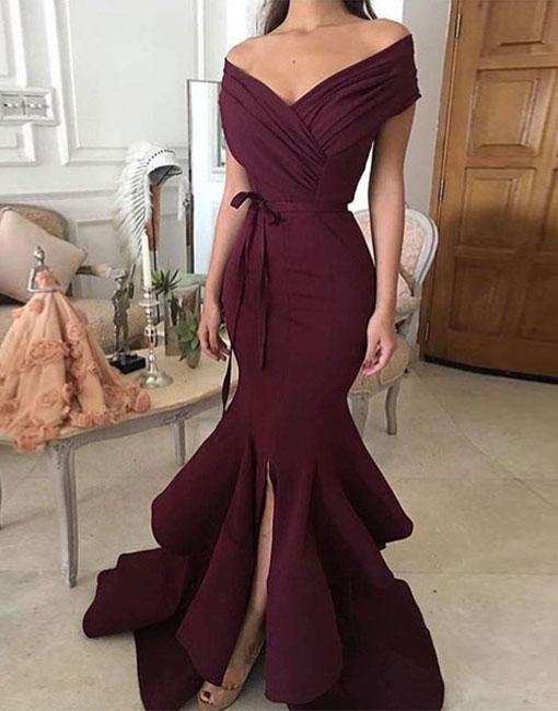 Simple Off Shoulder Long Prom Dress Evening Dress Prom Gowns