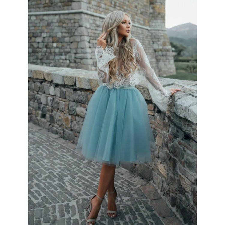 6e6c79db47 Light Blue Party Dresses, Short Party Dresses, Long Sleeve Prom Dresses,  Lace Prom