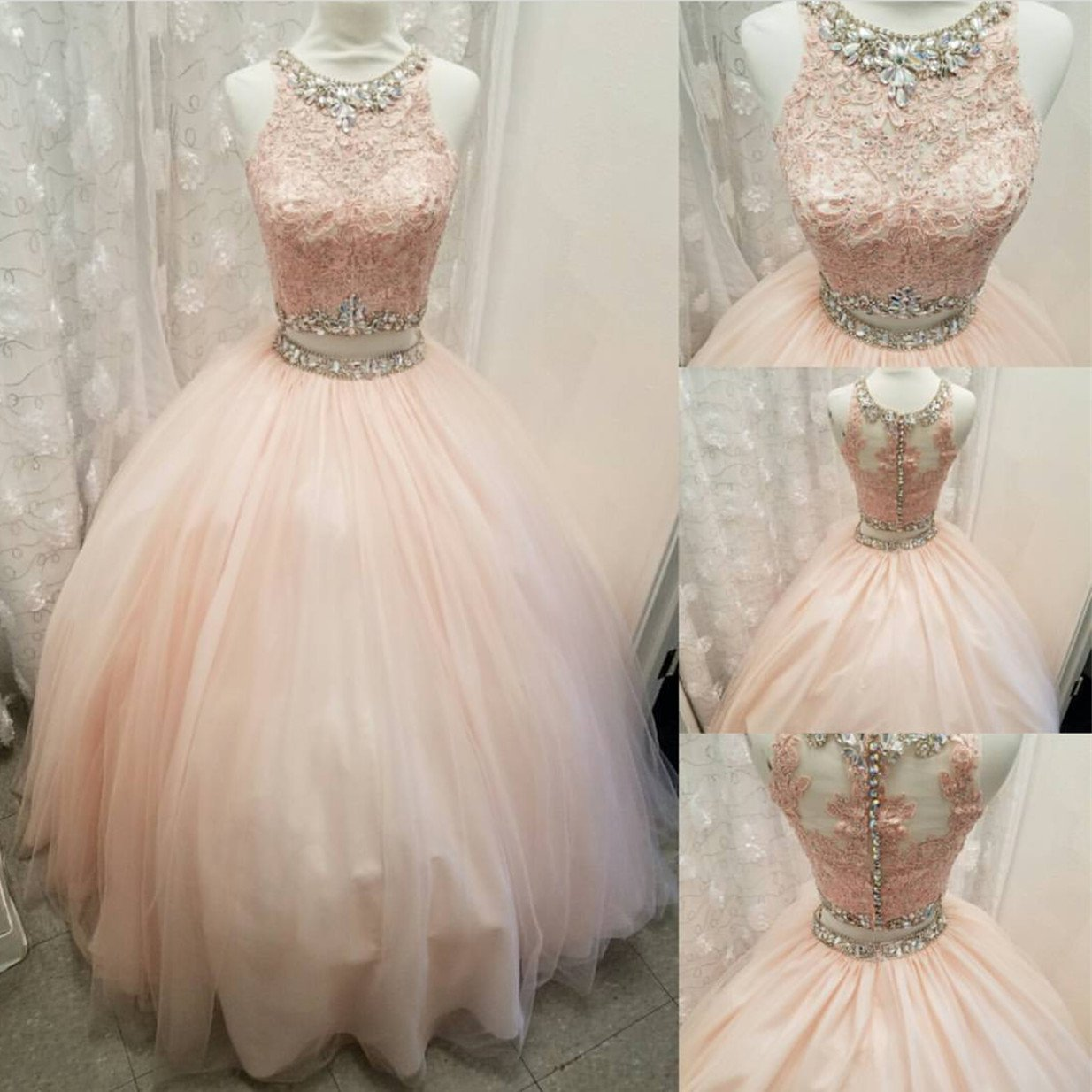 Cute Light Pink Tulle Lace Prom Dress,2 Pieces Sleeveless Beaded Ball  Gown,Round Neck Rhinestone Crystals Party Evening Dress,Sweet 16 Dress
