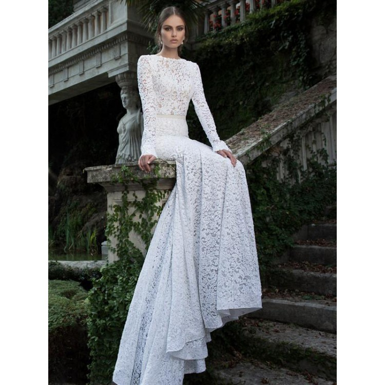 e96754dc962 On Sale Long Sleeve Prom Evening Dress Long White Prom Dresses With Tulle  Backless Lace Cute