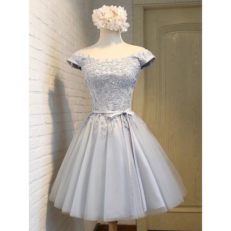 Belt/Sash/Ribbon Prom Dresses, Silver A-line/Princess Party Dresses ...