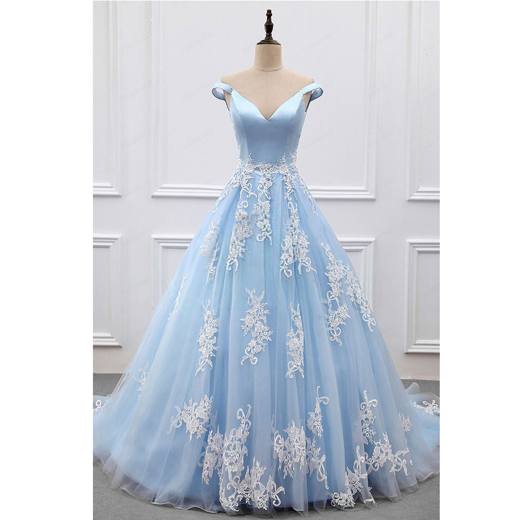 Ball Gown Off-the-Shoulder Court Train Blue Tulle Prom Dress on Luulla