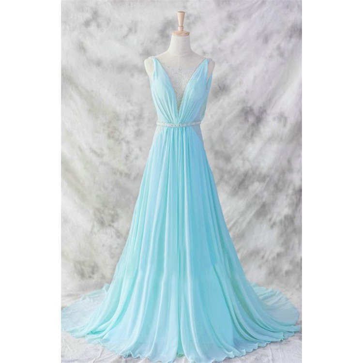 A Line Prom Dresses, Light Blue Prom Dresses, Long Prom Dresses With ...