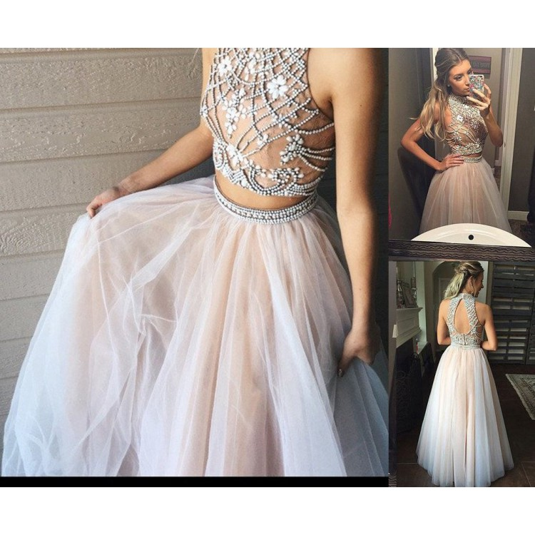 d583d29c3138 Beaded/Beading Prom Dresses, Ivory A-line/Princess Evening Dresses, Long  Ivory Evening Dresses, Two Piece A line Tulle Beading Pretty High Neck Prom  Dresses ...