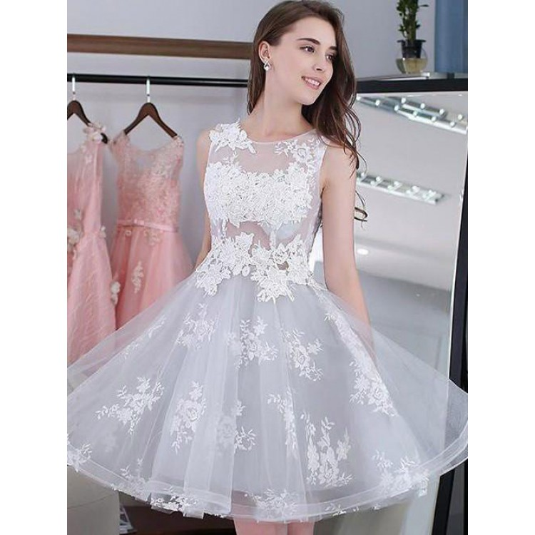 b9d79f05 Hot Sale Mini Homecoming Prom Dress Short Silver Dresses With Lace Up  Applique Round Luscious Homecoming Dresses