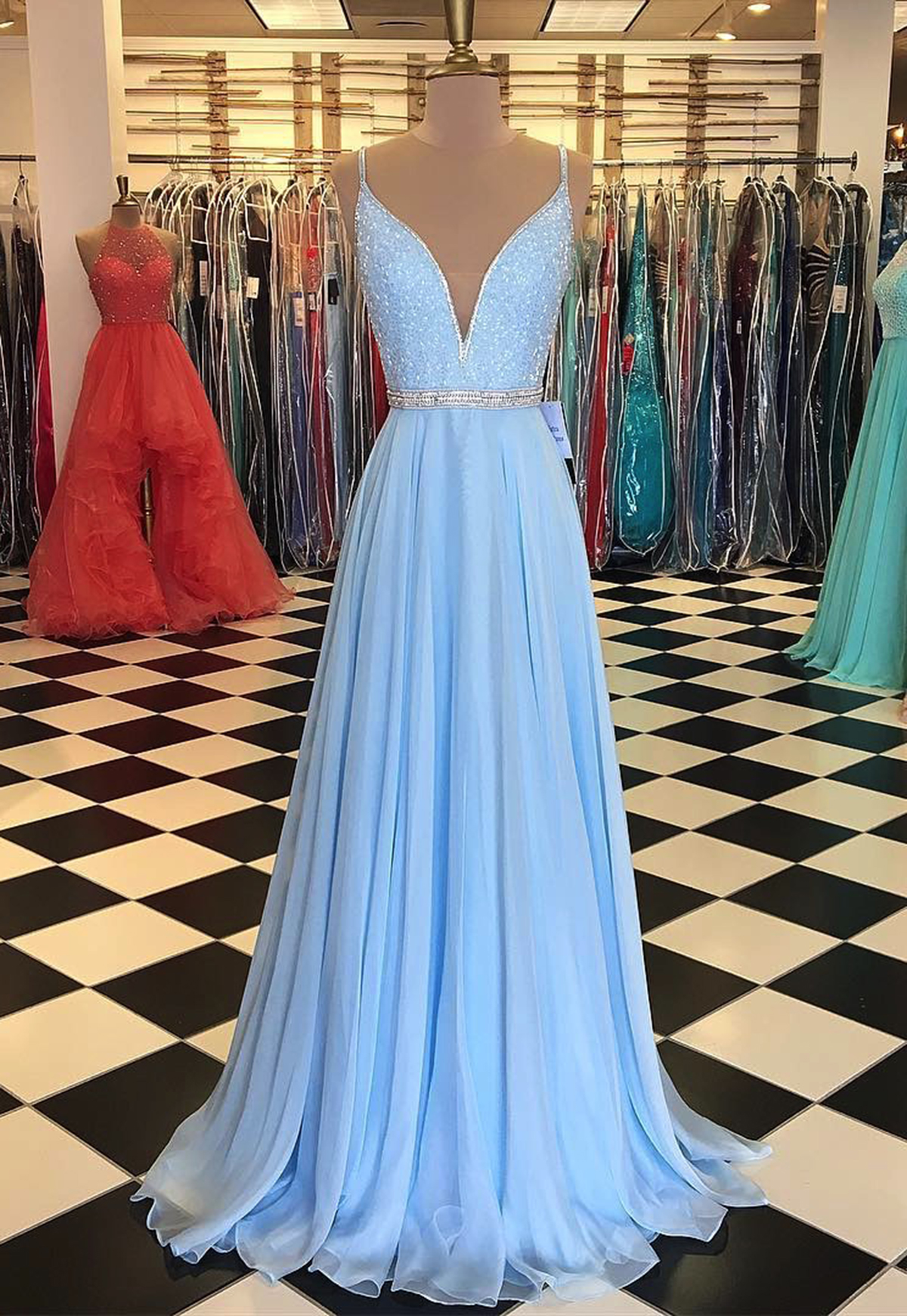 Light Blue Prom Dress,Chiffon Prom Dress,Mermaid Prom ...