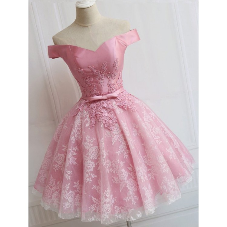 9e458b0df800 Custom Made A-line/Princess Party Prom Dresses Short Pink Dresses With Lace  Up Bowknot Mini Great Party Dresses