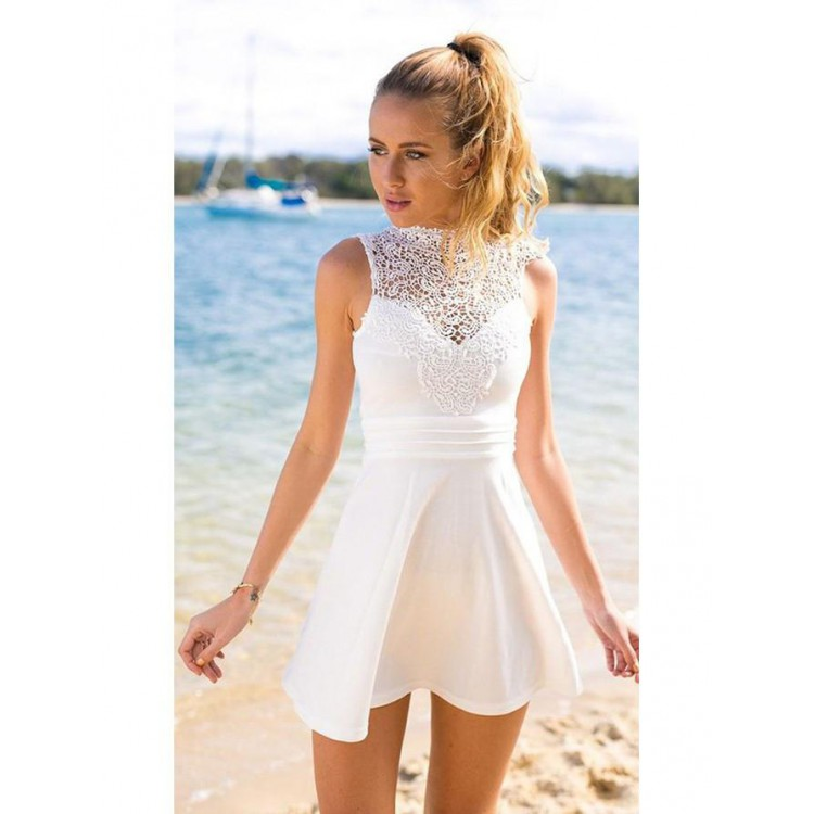 A Line Party Dresses White Homecoming Short Prom With Bowknot Sleeveless High Neck