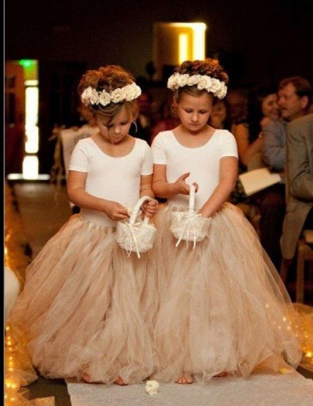 Lovely White and Champagne Flower Girls Dress,Short Sleeves Flower Girls Dress