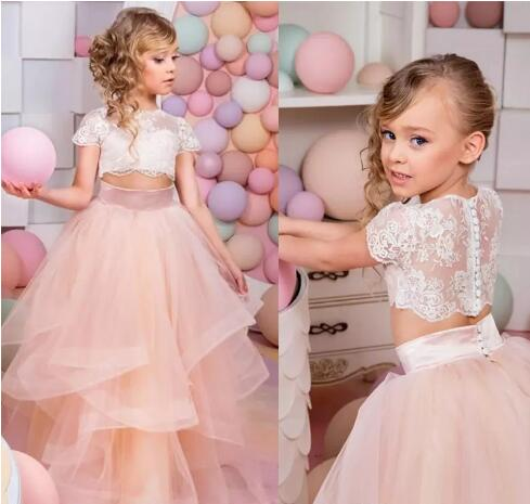 5eb72302ed6 Vestidos Primera Comunion Two Piece Ball Gown Flower Girl Dress Lace  Toddler Glitz Pageant Dresses Pretty Kids Prom Gown