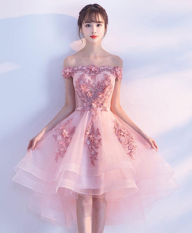 Fuchsia Gown: Pink Lace Tulle Short Prom Dress,Off-the-Shoulder