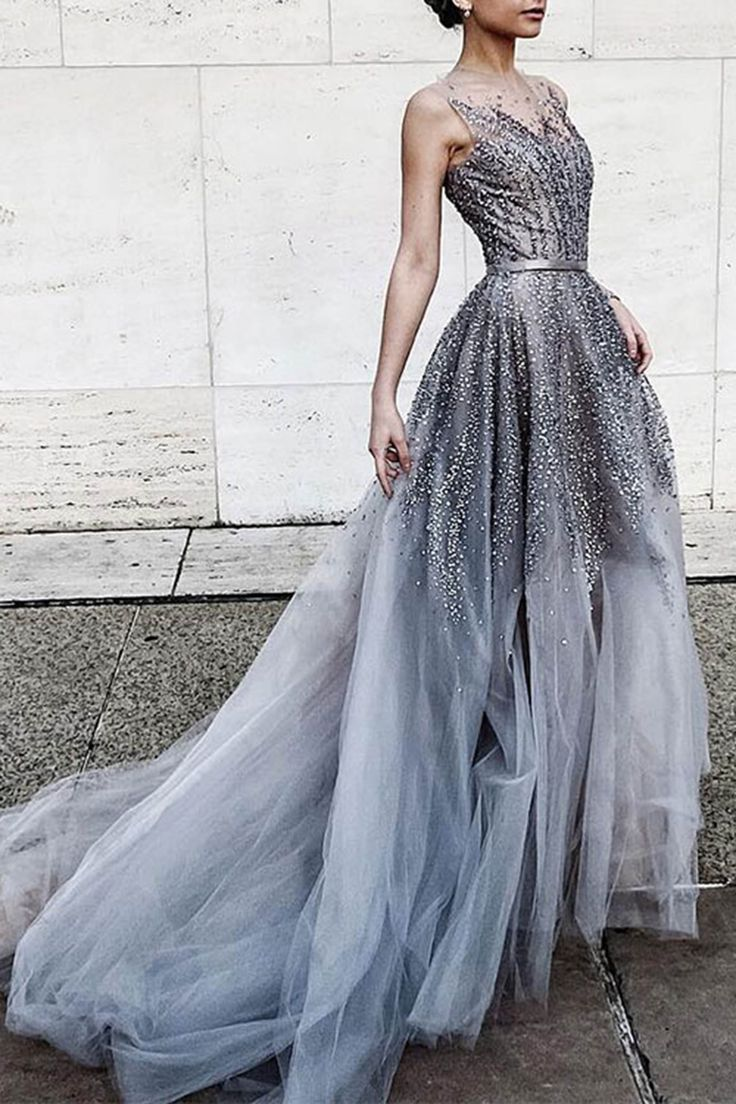 d2282c601c5 Outstanding 2018 Prom Dresses Gray Tulle Sequins Round Neck See-through Long  Prom Dress