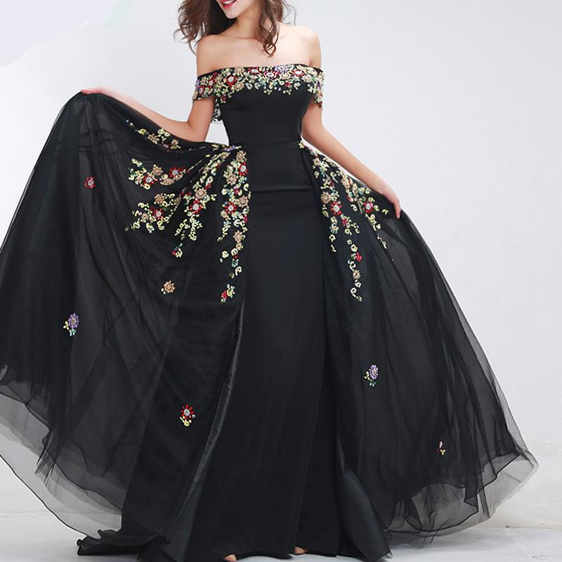 Black Prom Dress Long Attachable Train2018 Floral Lace Off The