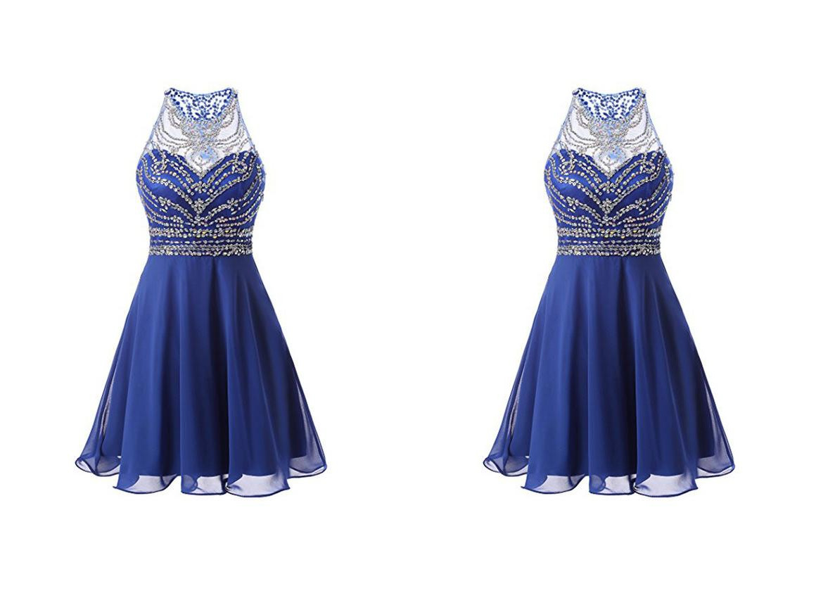 A Line Chiffon Blue Homecoming Dresses Short Prom Dresses