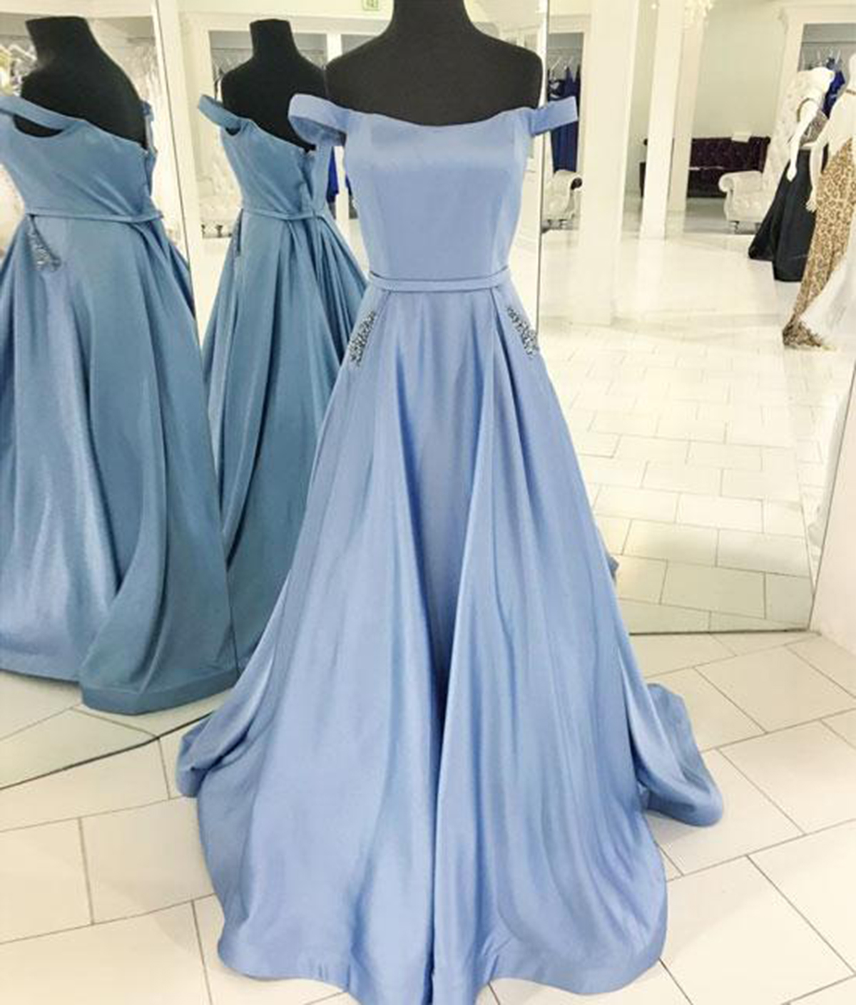 310c5bfb3b80 Simple Off Shoulder Light Blue Satin Prom Dress With Beaded Pockets ...