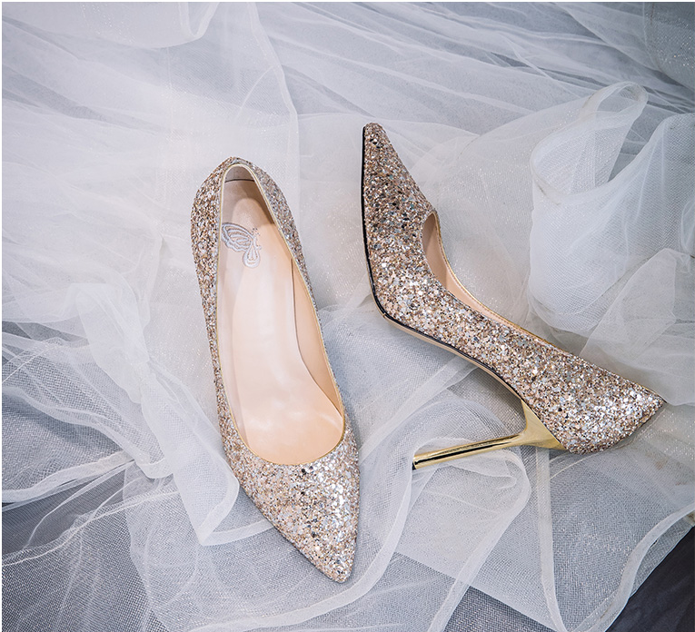 Sequin wedding shoes ,2019 new wedding shoes, bride shoes, girls high heels ,bridesmaids shoes, single shoes