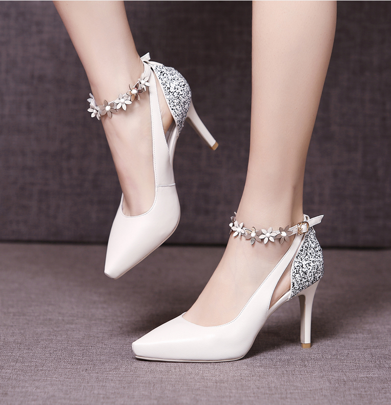 Ivory Sweet Girl Shoes,Daily Wear Party High Heel Shoes,Flower Applique High Heel Shoes,8.5 CM Heels Shoes