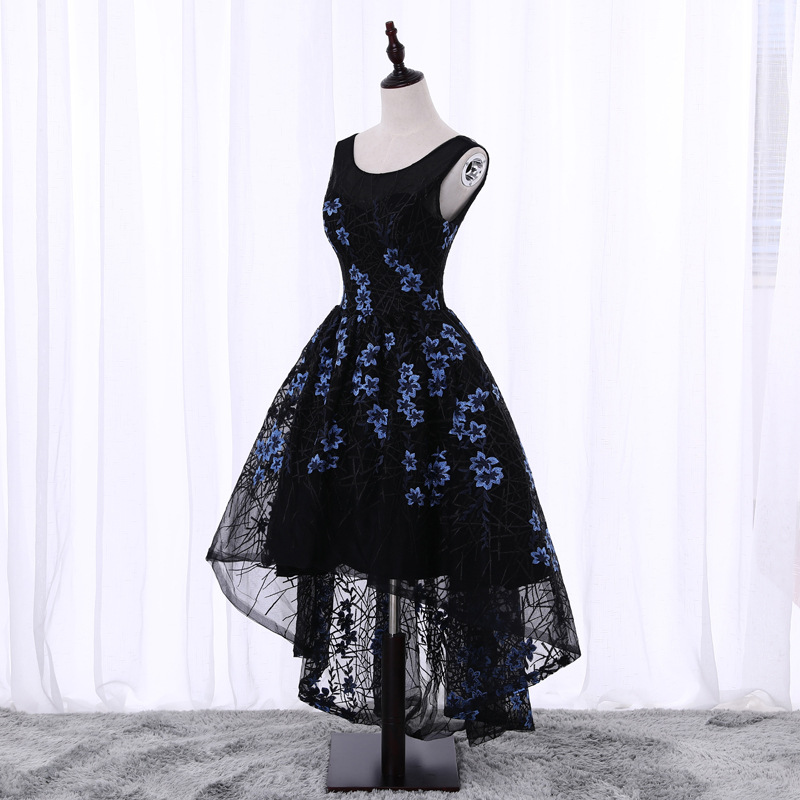 Black Hi-lo Embroidery Homecoming Dresses,Sleeveless Lace Homecoming Dresses