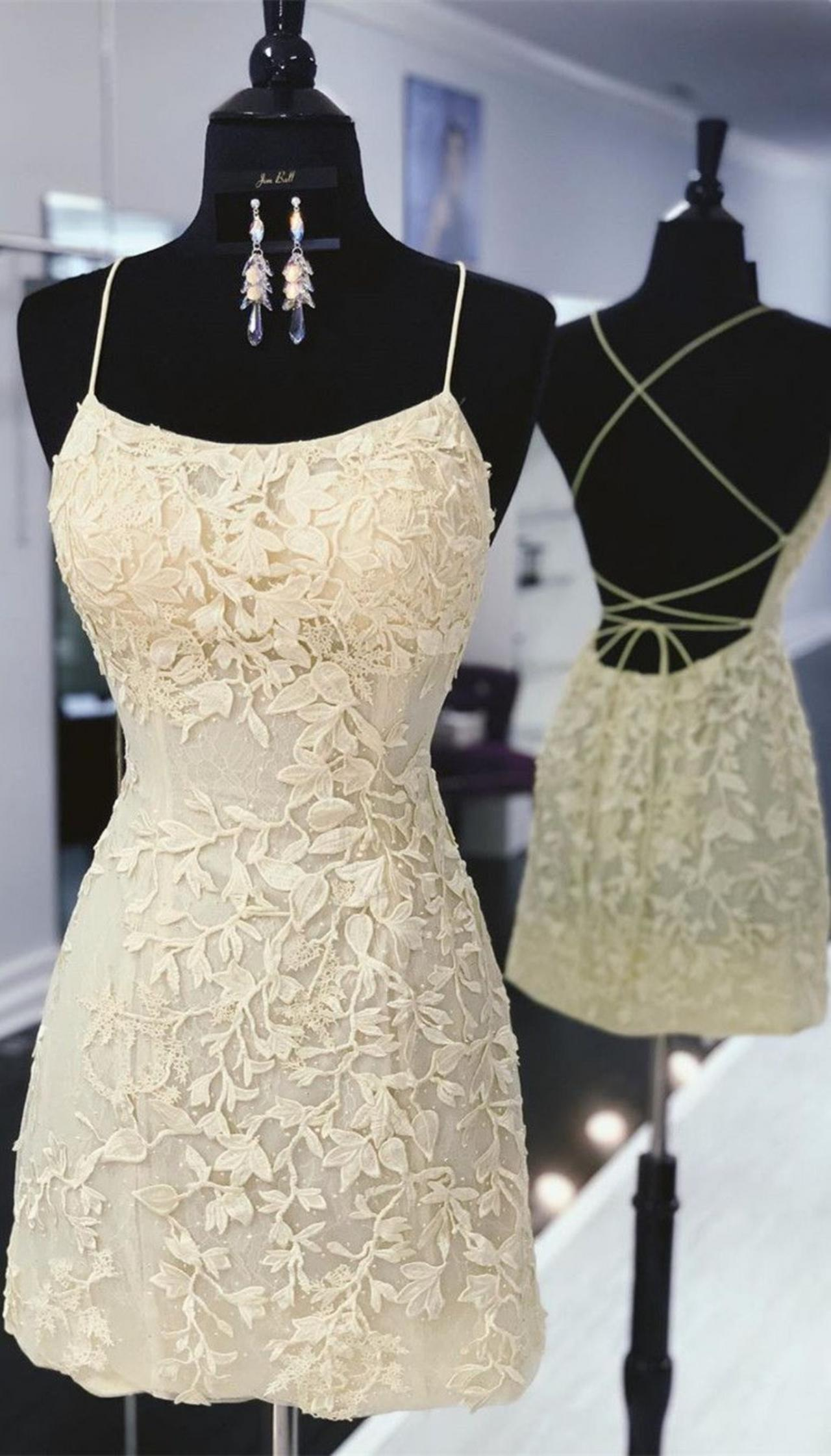Tie Back Yellow Fitted Homecoming Dress,Lace Criss Back Homecoming Dresses,Sheath Short Dresses