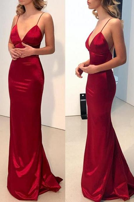 2018 New Arrival Red Sexy Prom Dress,Sexy Spaghetti Straps Long Party Dress,Open Back Mermaid Evening Dress,Sleeveless V-Neck Prom Dress