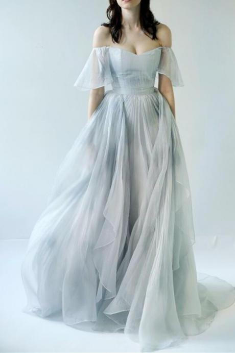 Unique Chiffon Prom Dress,Off The Shoulder Long Party Dress,Layered Evening Dress