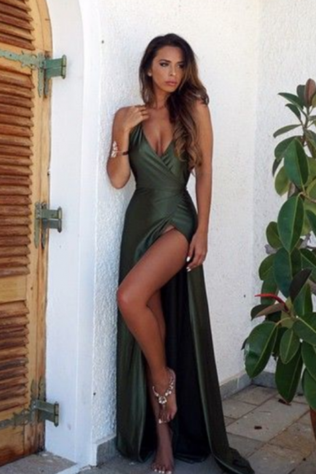 Elegant Simple Prom Dress,Sexy Backless Split Prom Dress,Cheap Prom Dress,Long V-Neck Prom Dress, Sexy Prom Dresses, Open Back Evening Dress, Green Prom Dress, Long Party Dress