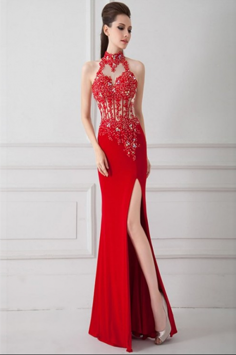 Cheap On Sale Nice Long Mermaid Prom Dresses, Red Sleeveless With Split-front Split Prom Dresses,Appliques Lace Beaded Sheath Party Dress with High Slit