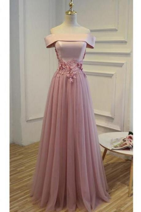 Custom Made Long Prom Evening Dress Fine Pink Prom Dresses With Tulle Off-the-Shoulder Lace Up Sequin Dresses