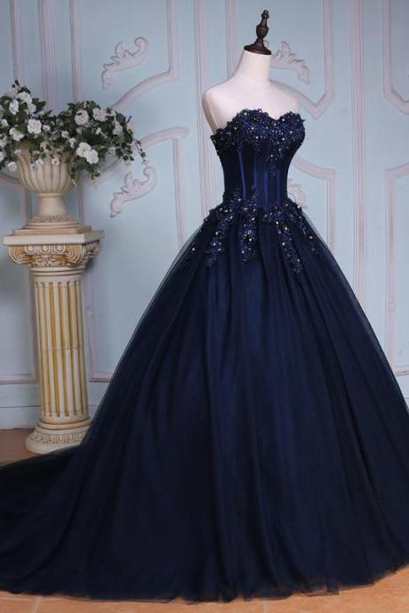 Navy Blue Ball Gown Court Train Sweetheart Strapless Appliques Prom Dress