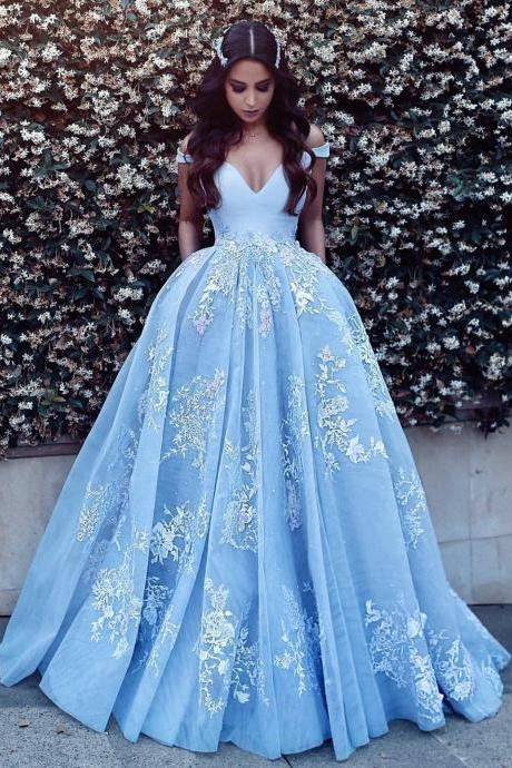 Gorgeous Blue Appliques Ball Gown Prom Dress,Tulle Lace Off Shoulder Evening Party Dress,V-Neck Sweet Quinceanera Dresses