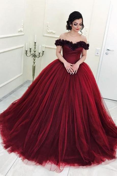Floral Flowers V-neck Off The Shoulder Tulle Quinceanera Dresses Ball Gowns