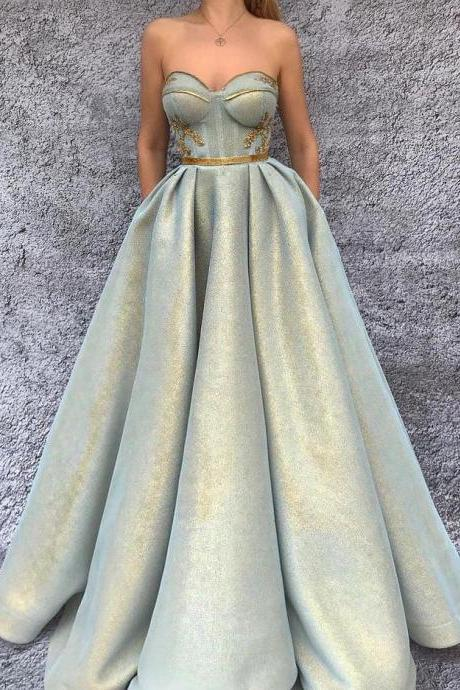 2018 CHIC A-LINE PROM DRESSES SWEETHEART MODEST LONG PROM DRESS EVENING DRESSES