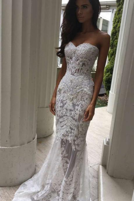 Unique Mermaid White Lace Wedding Dress,Sweetheart Bridal Dress,Sexy See Through Wedding Bridal Gown