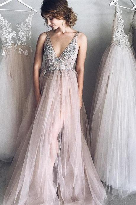 Sweet Tulle Appliques Prom Dress,Deep V-Neck Evening Dress,Sleeveless Beaded Prom Gown