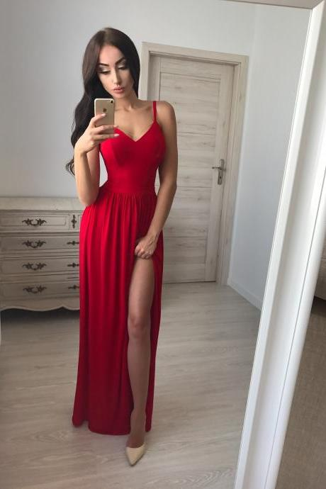 Elegant Glamour Spaghetti Straps A-Line Prom Dresses,Cheap Prom Dress,Graduation Dress,Evening Dress,Formal Dress,Chiffon Prom Dresses,V-Neck Prom Dress