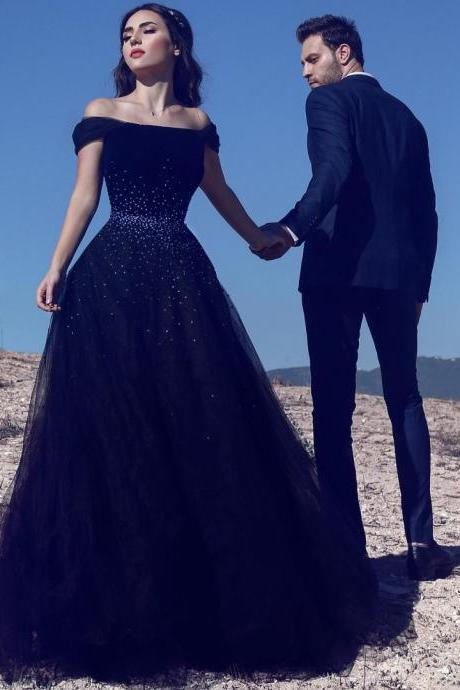 Navy Blue A Line Off Shoulder Tulle Beaded Long Prom Dress