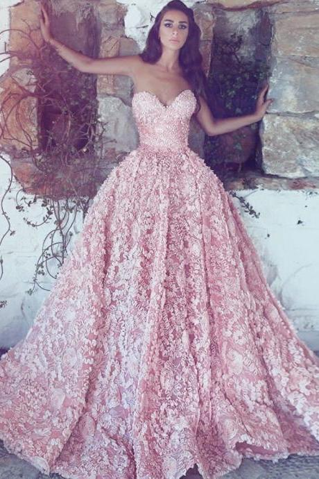 A-Line Sweetheart Sweep Train Pink Lace Prom Dress, gorgeous pink lace long prom dresses, amazing sweetheart long evening dresses