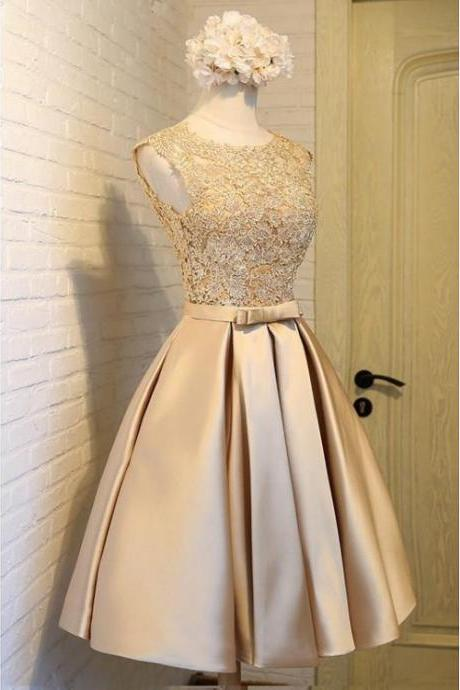 Princess Party Dresses, Champagne Party Dresses, Short Prom Dresses With Bowknot Sleeveless Round Neck