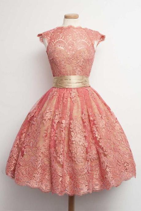 Discount Watermelon Party Prom Dress Glorious Short Party Dresses With A-line/Princess Lace Dresses
