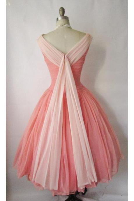 2018 Homecoming Dress Chic Watermelon Vintage Short Prom Dress Party Dress