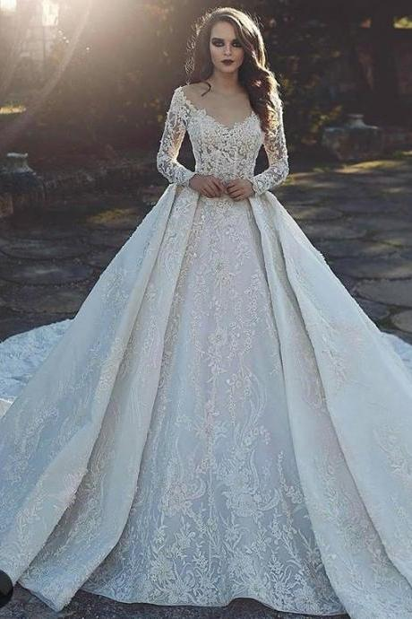 2018 White Appliques Lace Wedding Dress,Off Shoulder Long Sleeves Bridal Dress,V-Neck Wedding Dress