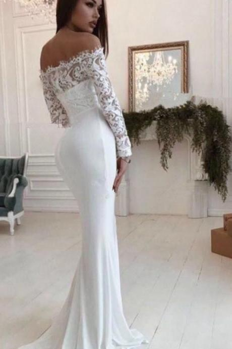 Gorgeous Scoop White Mermaid Long Wedding Dress