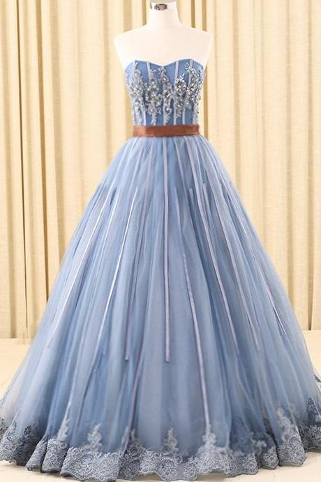 A-line Sweetheart Floor-Length Tulle Ink Blue Prom Dresses With Rhine Stones