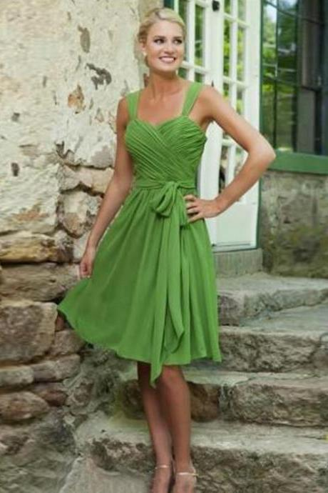 Green Prom Dresses, Short Prom Dresses, short prom dresses A-line Straps Knee-length Chiffon Homedress/Short Prom