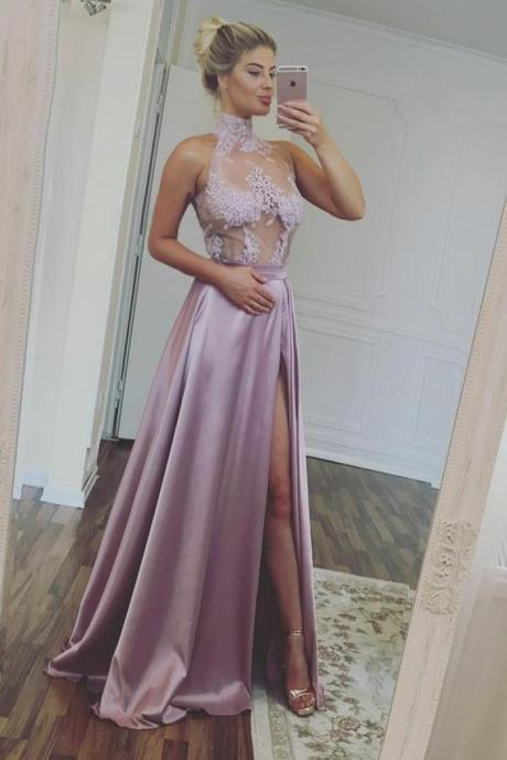 Chic A Line Prom Dress Modest Lace Cheap Long Prom Dress